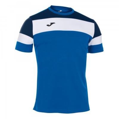 Футболка игровая Joma синяя с белыми и темно-синими вставками модель CREW IV 101534.703