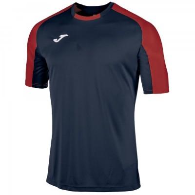 Футболка игровая Joma темно-синяя с контрастными красными рукавами реглан ESSENTIAL 101105.306