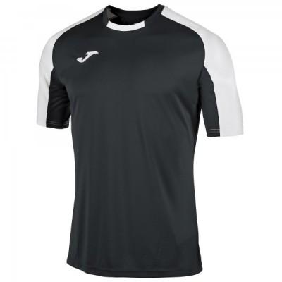 Футболка игровая Joma черная с контрастными белыми рукавами реглан ESSENTIAL 101105.102