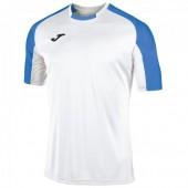 Футболка игровая Joma белая с контрастными синими рукавами реглан ESSENTIAL 101105.207