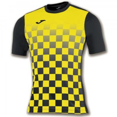 Футболка игровая Joma с рисунком в черную и желтую клетку FLAG 100682.109