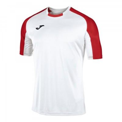 Футболка игровая Joma белая с контрастными красными рукавами реглан ESSENTIAL 101105.206