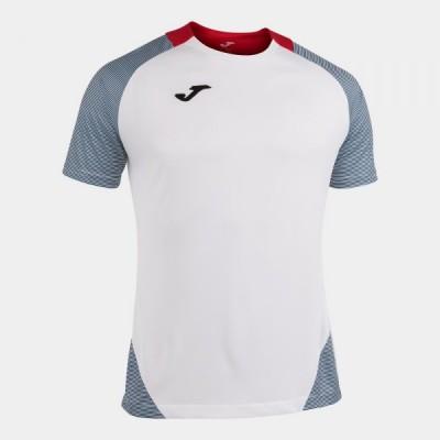 Футболка игровая Joma белая с контрастными красными вставками ESSENTIAL II 101508.203