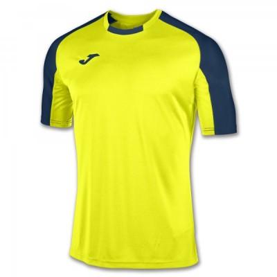 Футболка игровая Joma желтая с контрастными темно-синими рукавами реглан ESSENTIAL 101105.063
