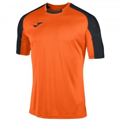 Футболка игровая Joma оранжевая с контрастными черными рукавами реглан ESSENTIAL 101105.801