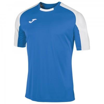 Футболка игровая Joma синяя с контрастными белыми рукавами реглан ESSENTIAL 101105.702