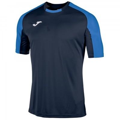 Футболка игровая Joma темно-синяя с контрастными синими рукавами реглан ESSENTIAL 101105.307